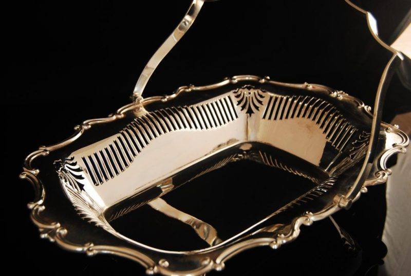 Antique silver plated basket