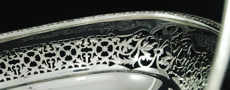 Elegant and large antique silver plated basket by Elkington & Co
