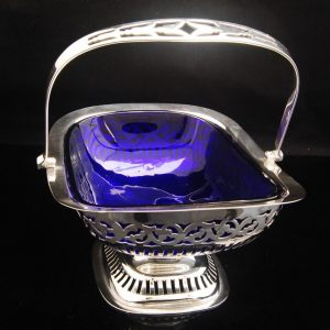 English Antique Silver plated basket with original blue glass bowl