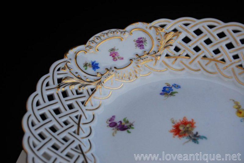 金彩 マイセン 散らし小花 透し模様 デザートプレート
