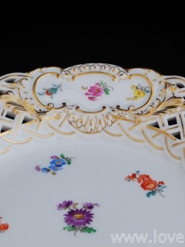 金彩 マイセン 散らし小花 透し模様 デザートプレート C