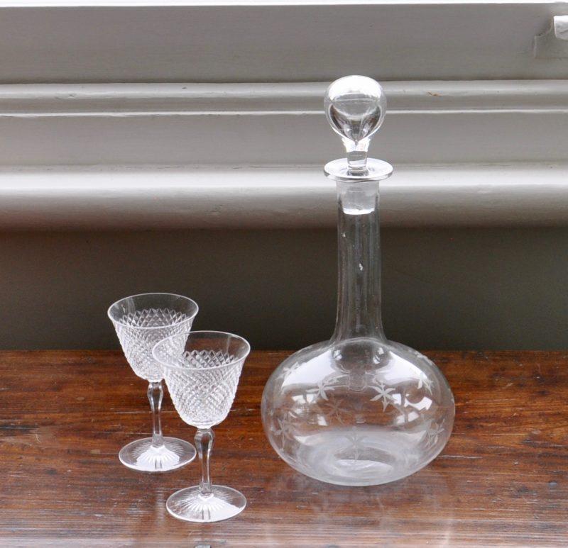 アンティーク 吹きガラス ワイン デカンタ
