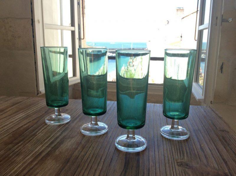 シャンペンフルート フレンチグリーン 4客セット