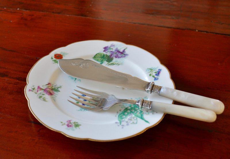 マザーオブパール シルバーサービング ナイフ&フォーク